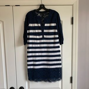 3/4 Sleeve Navy & White Striped Lace Dress